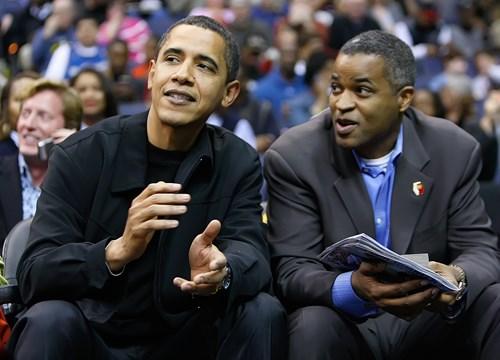 President Barack Obama and Vistria co-founder Marty Nesbitt